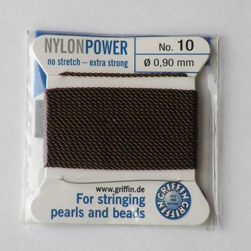 Griffin Nylon Power, bruin, 0.90 mm  x 2 m, met naald