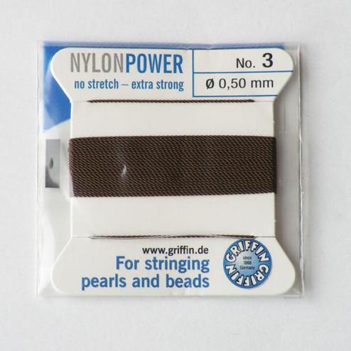 Griffin Nylon Power, bruin, 0.50 mm  x 2 m, met naald