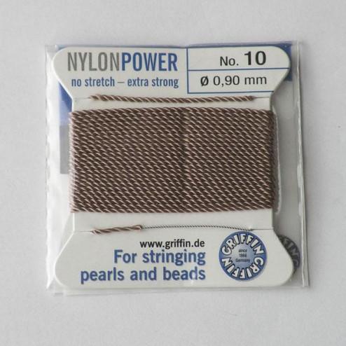 Griffin Nylon Power, beige, 0.90 mm  x 2 m, met naald