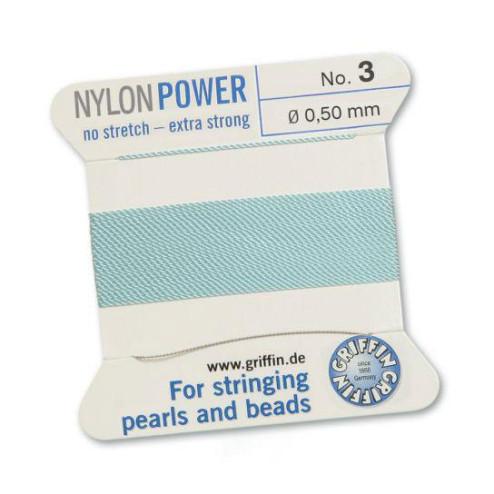 Griffin Nylon Power, lichtblauw, 0.50 mm  x 2 m, met naald