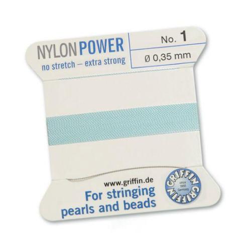 Griffin Nylon Power, lichtblauw, 0.35 mm  x 2 m, met naald