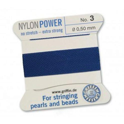 Griffin Nylon Power, donkerblauw, 0.50 mm  x 2 m, met naald
