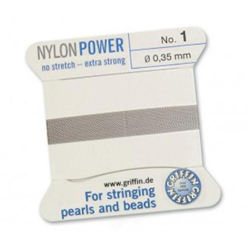 Griffin Nylon Power, grijs, 0.35 mm  x 2 m, met naald
