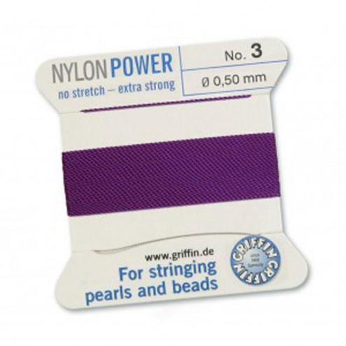 Griffin Nylon Power, amethist, 0.50 mm  x 2 m, met naald