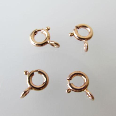 Roze gouden springslot, 6 mm, per 20 stuks