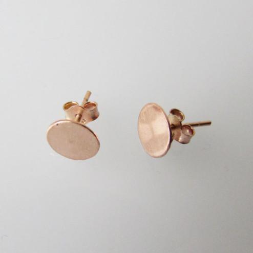 Roze Gouden oorsteker met 8 mm plaat, per 20 stuks, 1 micron plated