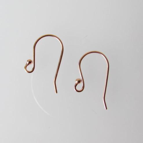 Roze gouden oorhaak met bolletje, 1 micron plated, per 10 stuks
