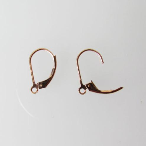 Roze gouden oorbel met klepje, 1 micron plated, per 10 stuks
