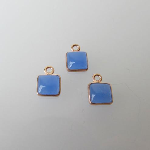 Roze gouden bedeltje, 6-6.5 mm, DONKERBLAUWE CHALCEDOON, per stuk