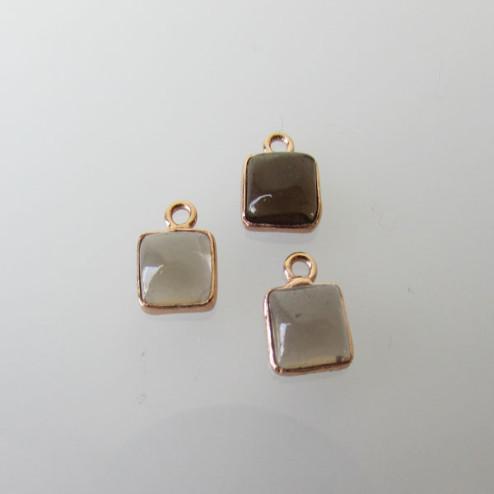 Roze gouden bedeltje, 6-6.5 mm, ROOKKWARTS, per stuk