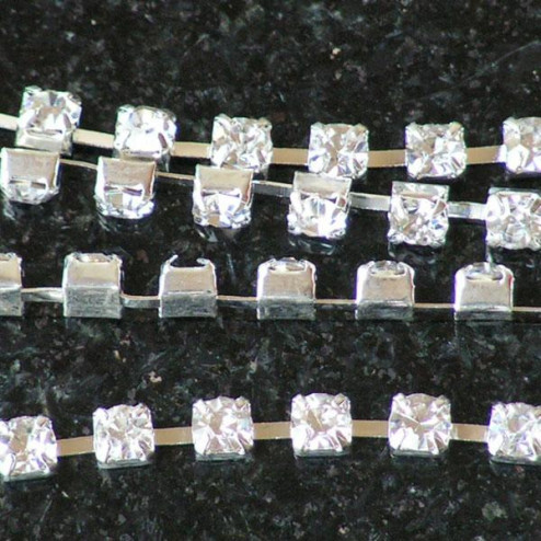 Rhinestone/strass ketting, 3 mm, zilverkleurig, per meter