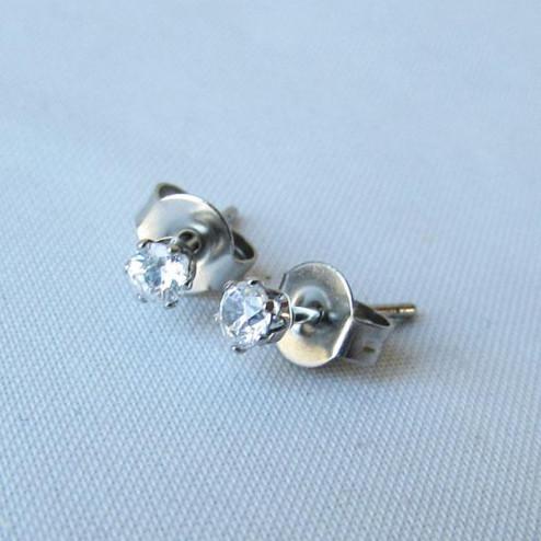 Edelstalen (316) oorstekers met 3 mm zirkonia steentje, per paar