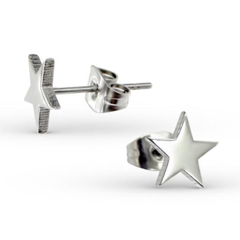 Edelstalen (316) oorstekers met een sterretje, 8 mm, per paar