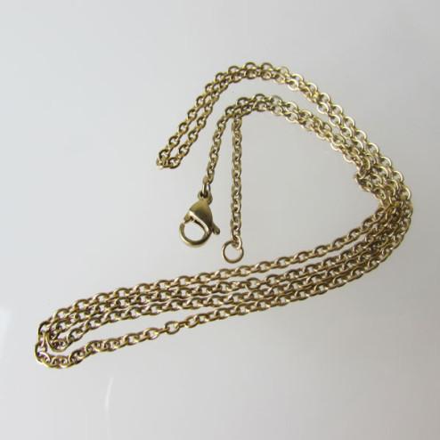 Edelstalen (316) halsketting, 50 cm, goudkleurig, per stuk