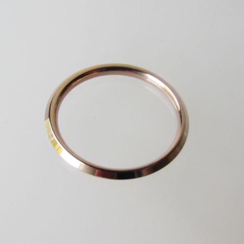 Edelstalen (316) roze vergulde ring, 2 mm breed en hoog, aanschuifring, maat 17.2,  per stuk