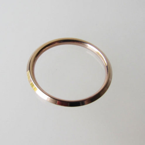 Edelstalen (316) roze vergulde ring, 2 mm breed en hoog, aanschuifring, maat 18,  per stuk