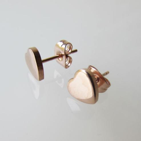 Edelstalen (316) roze vergulde oorstekers met een Hartje, 7 mm, per paar
