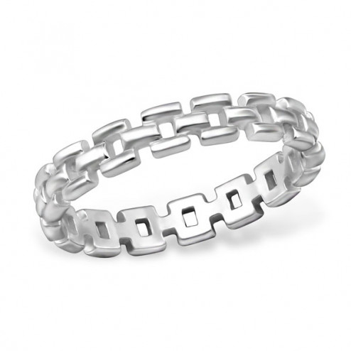 Sterling zilveren (925)  ring met een vaste schakels, aanschuifring, maat 18