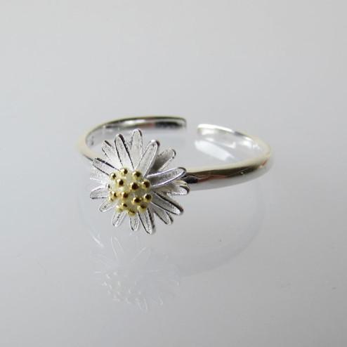 Sterling zilveren (925)/verguld ring, verstelbaar, bloem, per stuk