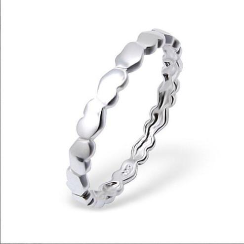 Sterling zilveren (925) ring, hartjes, maat 18, aanschuifring, per stuk