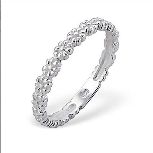 Sterling zilveren (925) ring, bloemetjes, aanschuifring, MAAT 18, per stuk