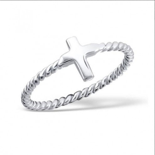 Sterling zilveren (925) ring, Kruisje, maat 17.5, per stuk
