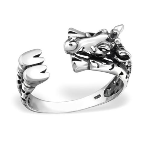 Sterling zilveren (925) ring, Giraf, oxidated, maat 17.5, per stuk