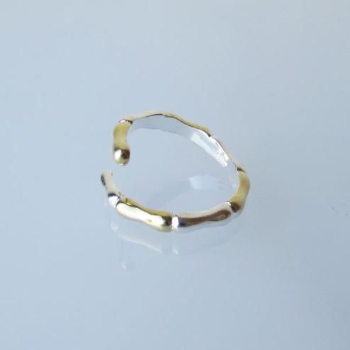 Sterling zilveren (925) ring, Bamboe-look, gedeeltelijk verguld, verstelbaar, per stuk
