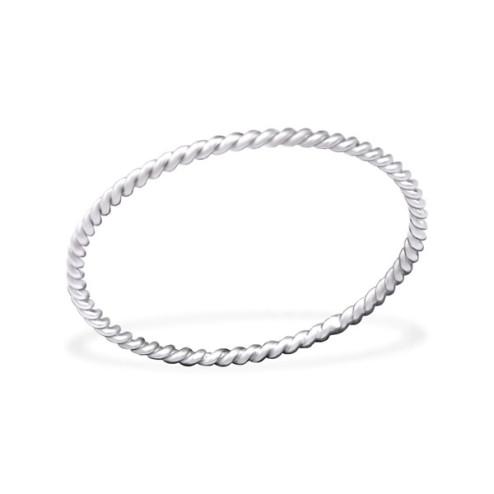 Sterling zilveren (925) ring, fijne twisted, aanschuifring, MAAT 19, per stuk