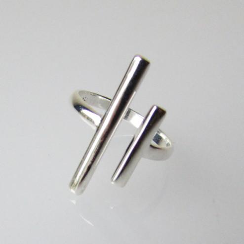Sterling zilveren (925) ring, staafjes, MAAT 17.5, verstelbaar, per stuk