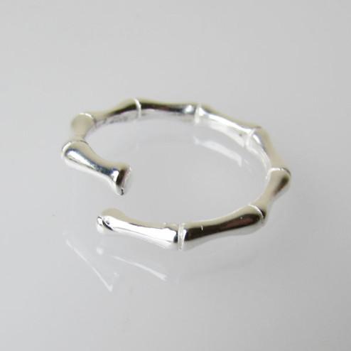 Sterling zilveren (925) ring, Bamboe-look, MAAT 17.5, verstelbaar, per stuk