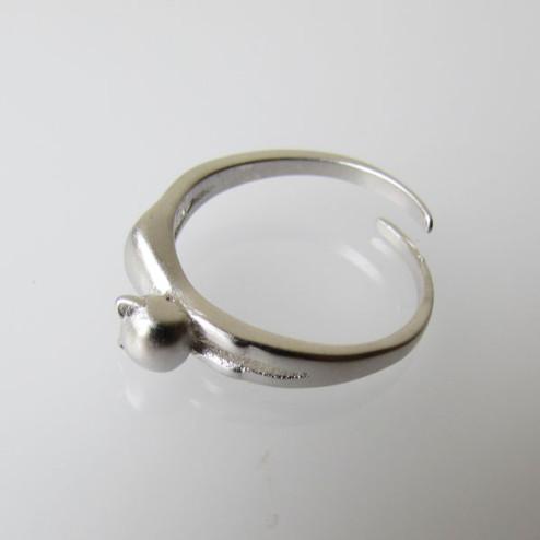 Sterling zilveren (925) ring, Poes- Kat, gematteerd, MAAT 17, verstelbaar, per stuk