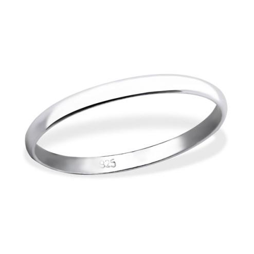 Sterling zilveren (925) ring, 2 mm breed, aanschuifring, MAAT 19, per stuk