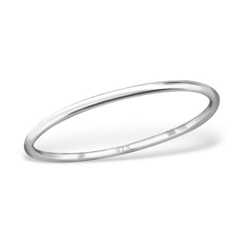 Sterling zilveren (925) ring, aanschuifring, 1 mm breed, maat 18