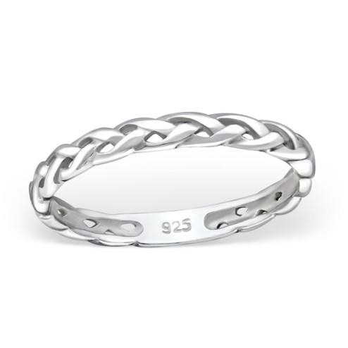 Sterling zilveren (925) ring, gevlochten, aanschuifring, 2.3 mm breed, maat 17.5