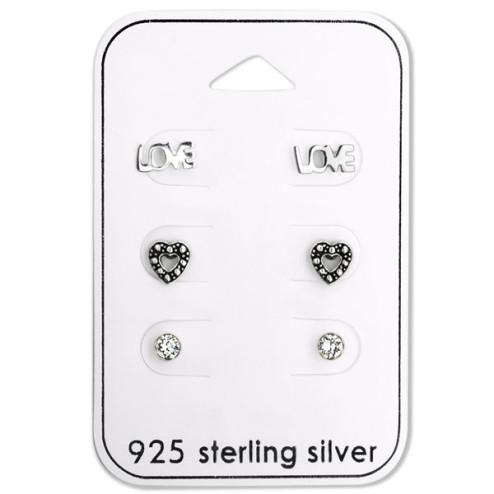 Sterling zilveren (925) setje, 3 paar oorstekers : LOVE- Hartje- Zirkonia