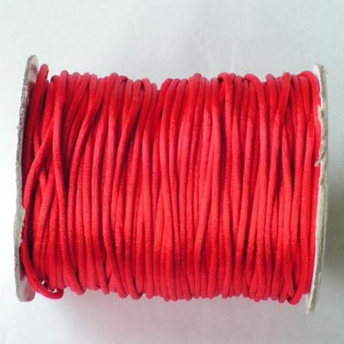 Satijnkoord, rood, 2 mm, per 90 meter