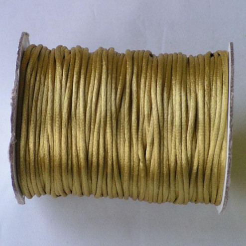 Satijnkoord, goudgeel, 2 mm, per 90 meter