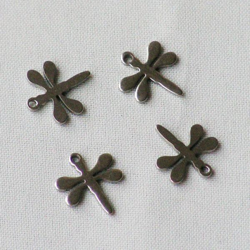 Edelstalen RVS bedeltje (316), libelle, 12 x 10 mm, per 10 stuks