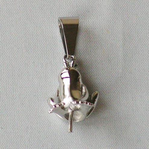 Edelstalen RVS hangeroog, kikker met kroon, 23 x 13 mm, verpakt per stuk