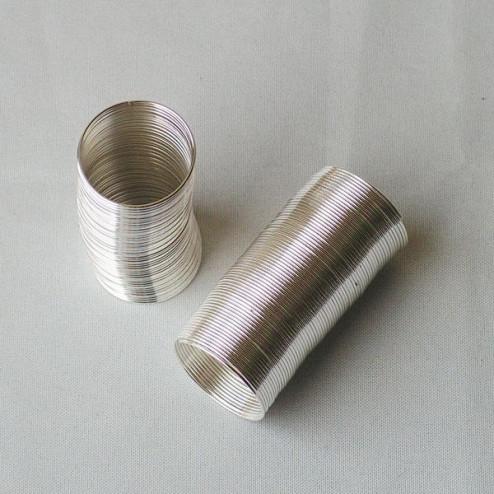 Edelstalen RVS memory wire spiraalring, 0.6 x 20 mm, per 65 loops