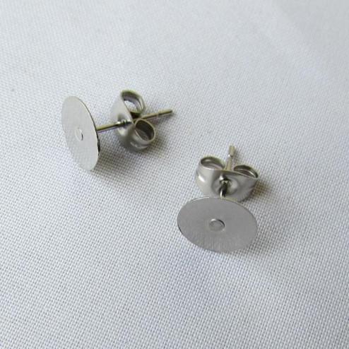 Edelstaal oorstekers met 8 mm plaatje, per 10 stuks