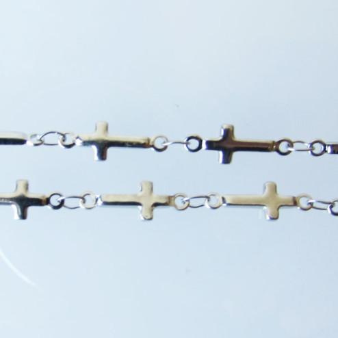 Edelstaal (316) RVS jasseron, KRUISJE, 13 x 5 x 1.5 mm,  verpakt per meter