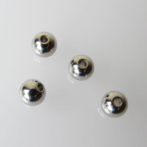 Edelstaal RVS kraal (316),  6 mm, verpakt per 10 stuks