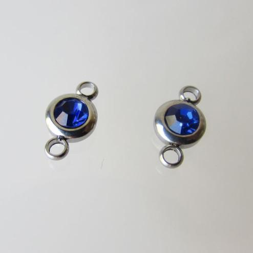 Edelstalen connector, Koningsblauwe zirkonia, 7 mm, per stuk
