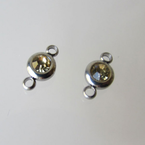 Edelstalen connector, Topaz zirkonia, 7 mm, per stuk