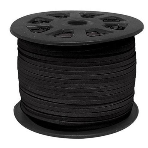 Suedekoord, 3 mm, zwart, per rol van 91 meter