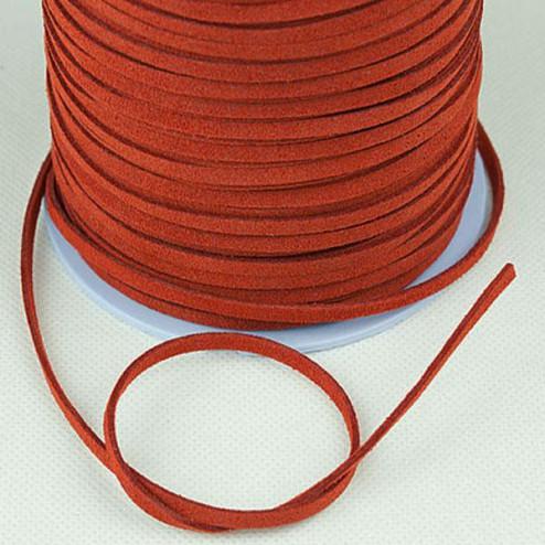 Suedekoord, 3 mm, donker oranje, per rol van 91 meter