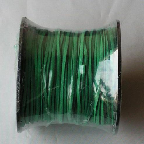 Suedekoord, 3 mm, donker groen, per rol van 91 meter