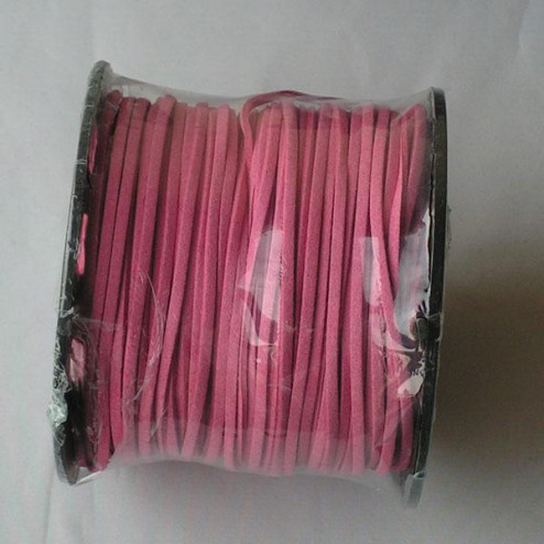 Suedekoord, 3 mm, roze, per rol van 91 meter